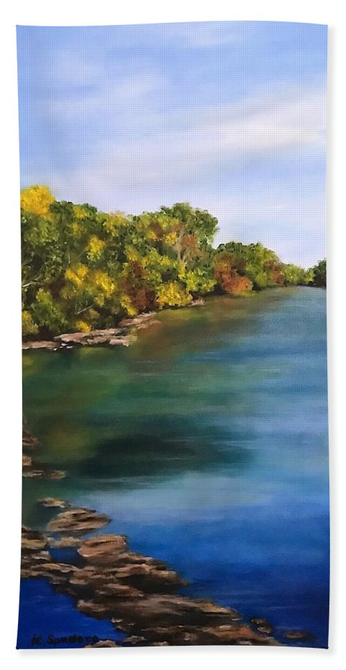 River Bath Sheet featuring the painting River At Hidden Acres 2. by Kathy Spadaro