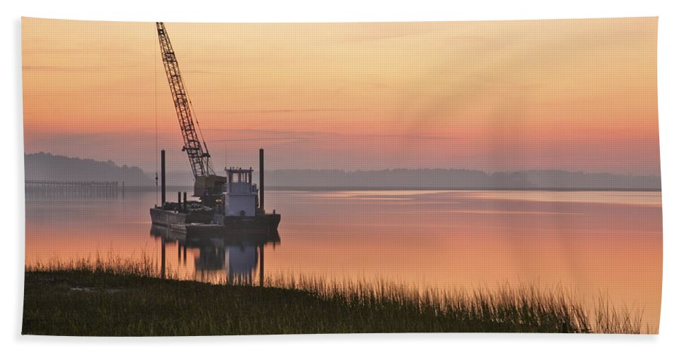 Clouds Bath Sheet featuring the photograph River Barge by Phill Doherty