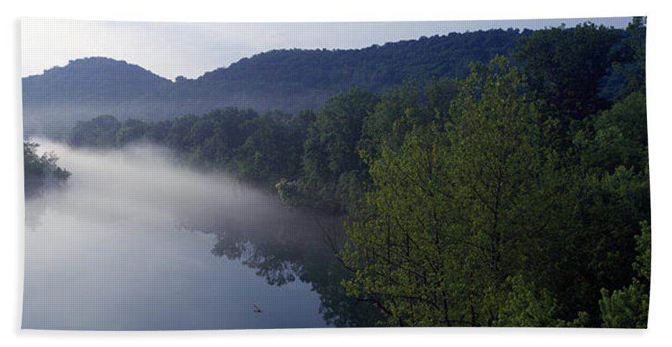 Photography Bath Sheet featuring the photograph River Flowing In A Forest by Panoramic Images