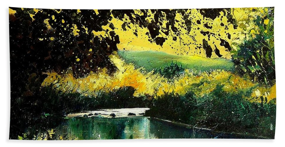 River Hand Towel featuring the painting River Houille by Pol Ledent