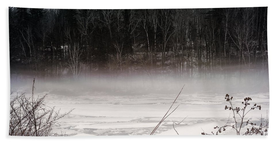 Three States Of Water Hand Towel featuring the photograph River Ice And Steam by William Tasker