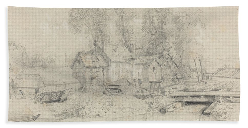 Hand Towel featuring the drawing River Landscape With Buildings, Boats, And Figures by Eug?ne Boudin