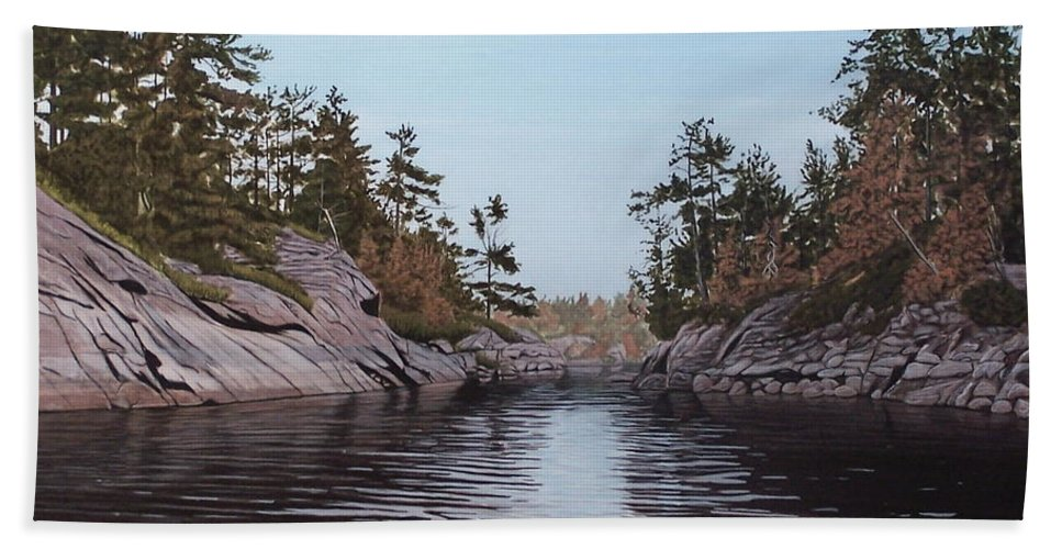Landscapes Hand Towel featuring the painting River Narrows by Kenneth M Kirsch
