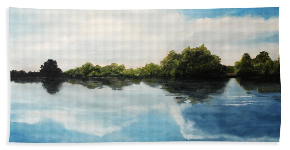Landscape Bath Towel featuring the painting River of Dreams by Darko Topalski