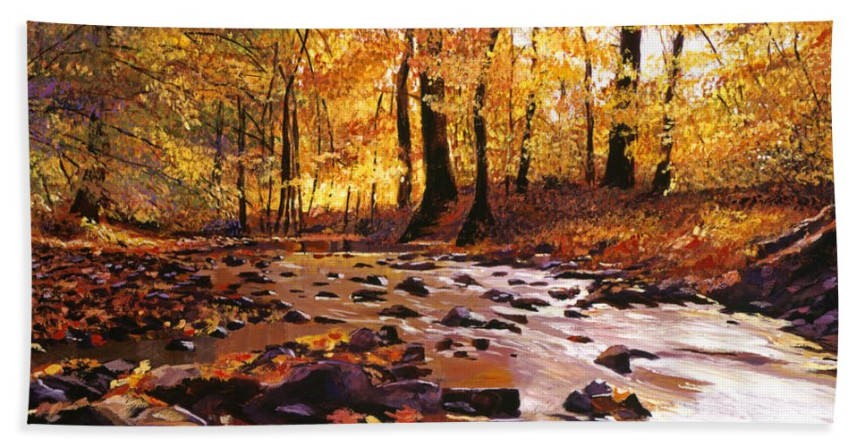 Autumn Hand Towel featuring the painting River Of Gold by David Lloyd Glover