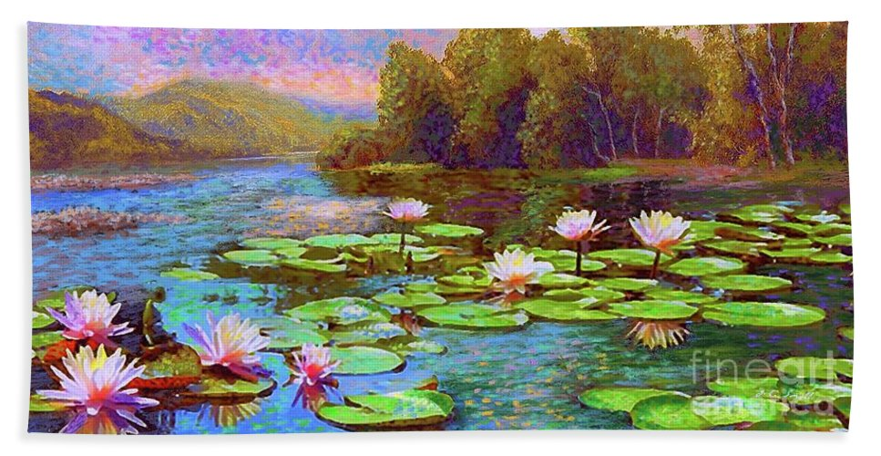 Floral Bath Towel featuring the painting The Wonder Of Water Lilies by Jane Small