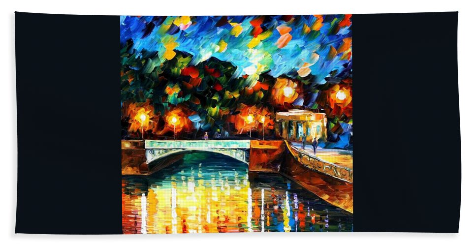 Afremov Hand Towel featuring the painting River Of Love by Leonid Afremov