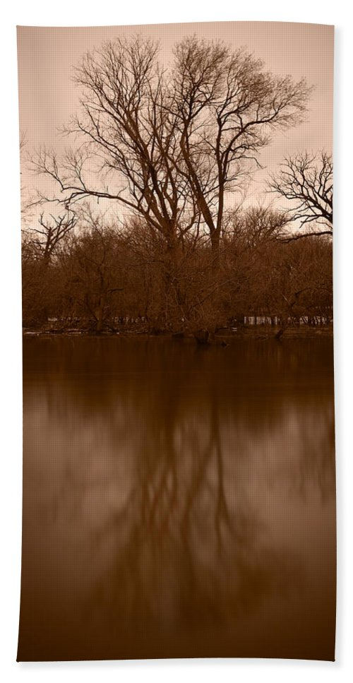 Black Hand Towel featuring the photograph River Reflections by Steve Gadomski