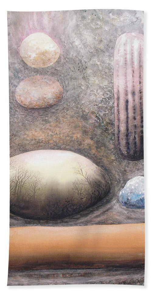 Abstract Bath Sheet featuring the painting River Rock 1 by Valerie Meotti