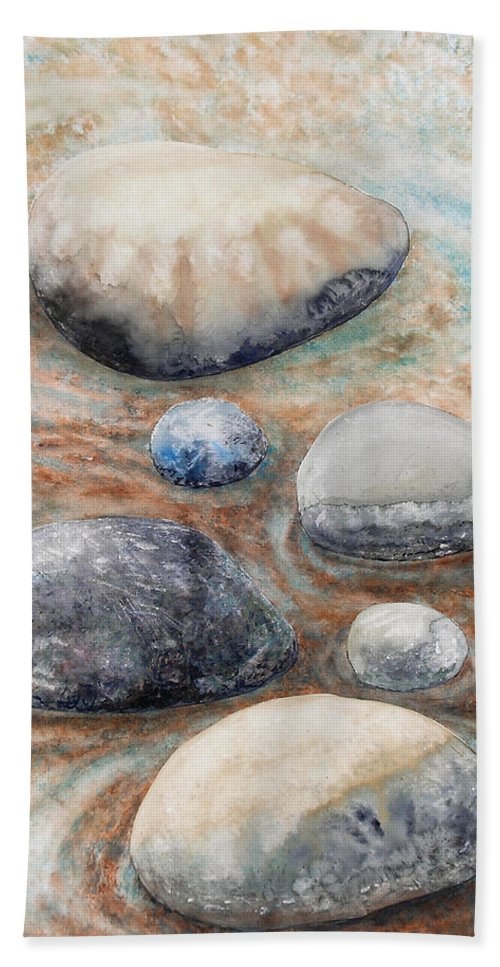 Abstract Bath Sheet featuring the painting River Rock 2 by Valerie Meotti