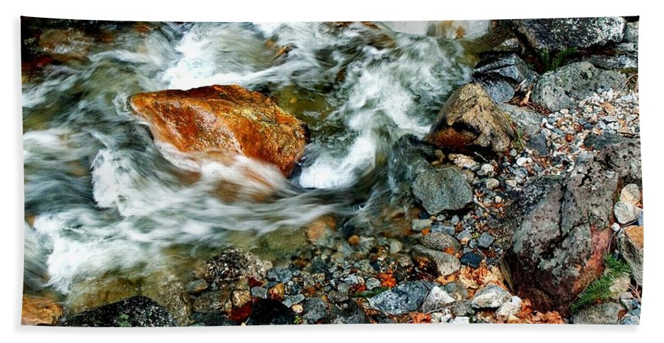 California Scenes Hand Towel featuring the photograph River Rock Leaves by Norman Andrus
