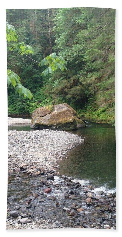 Trees Bath Sheet featuring the photograph River rock by Shari Chavira