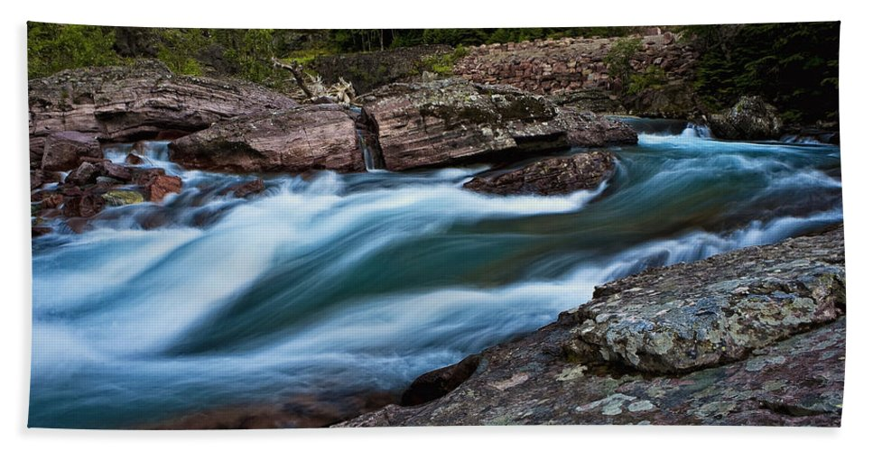 Nature Hand Towel featuring the photograph River Rocks by John K Sampson