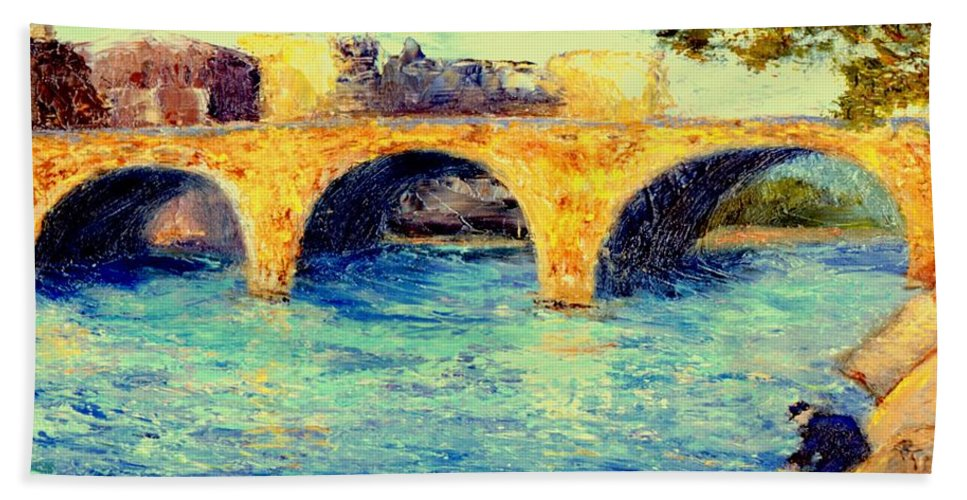 Impressionism Hand Towel featuring the painting River Seine Bridge by Gail Kirtz