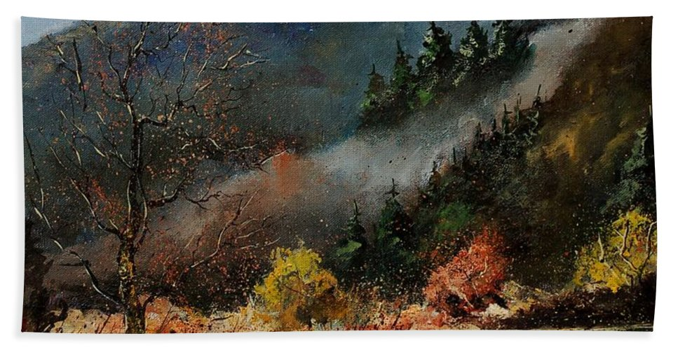 River Bath Towel featuring the painting River Semois by Pol Ledent