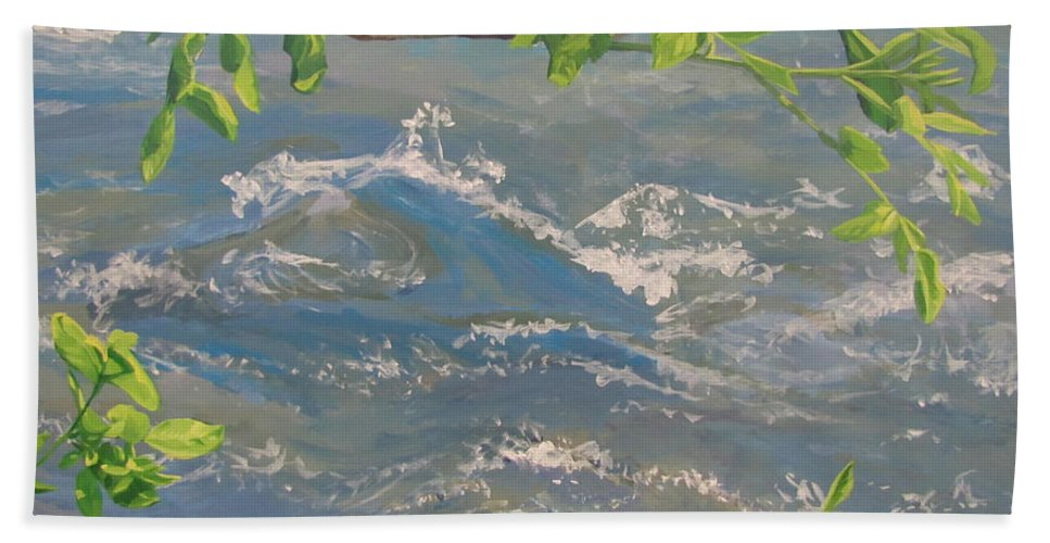 New Leaves Bath Sheet featuring the painting River Spring by Karen Ilari