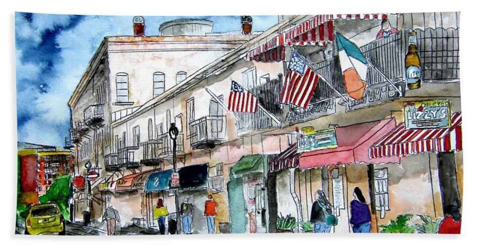 Savannah Hand Towel featuring the painting River Street Savannah Georgia by Derek Mccrea