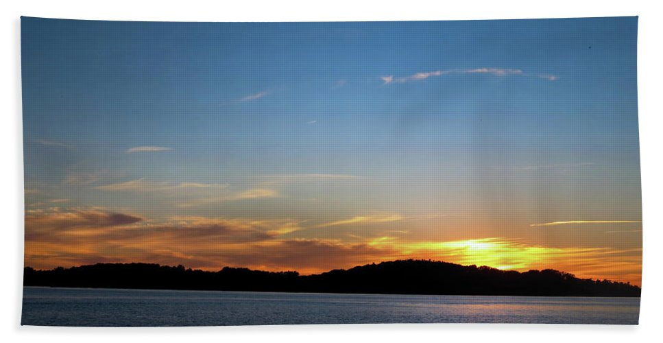 Sunset Hand Towel featuring the photograph River Sun Set by Darielle Mesmer