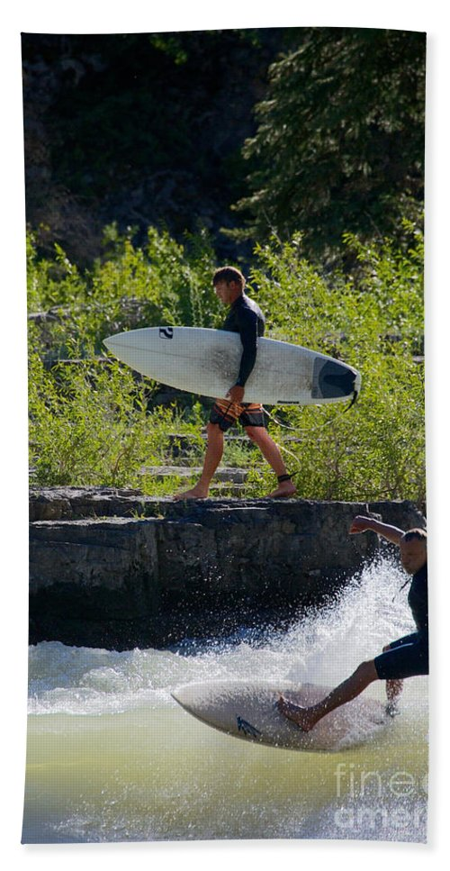 Action Sports Bath Sheet featuring the photograph River Surfers Snake River by Daryl L Hunter