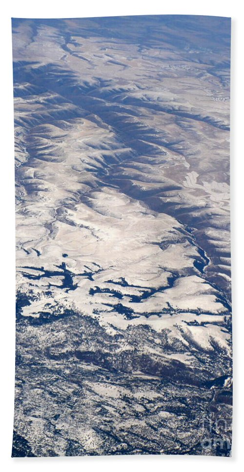 Aerial Bath Sheet featuring the photograph River Valley Aerial by Carol Groenen