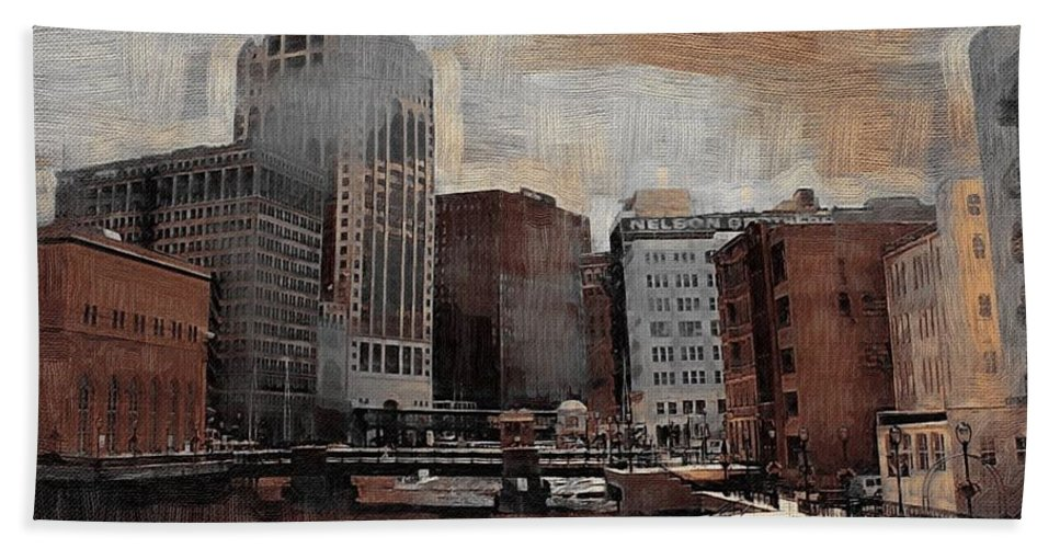 River Bath Towel featuring the digital art River View Aged by Anita Burgermeister
