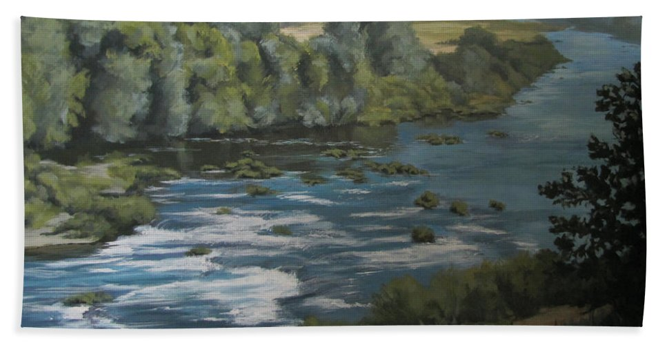 River Hand Towel featuring the painting River View by Karen Ilari