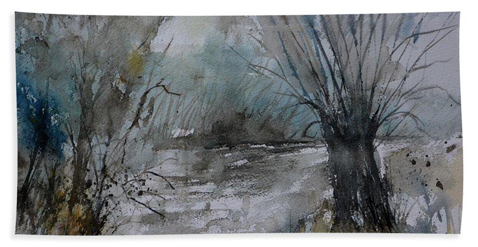 Landscape Bath Towel featuring the painting River watercolor 711082 by Pol Ledent
