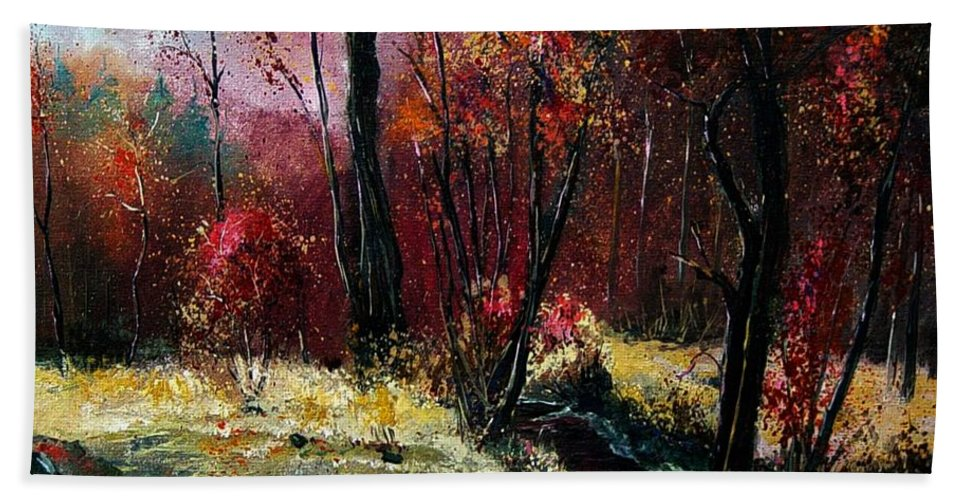 River Bath Towel featuring the painting River Ywoigne by Pol Ledent