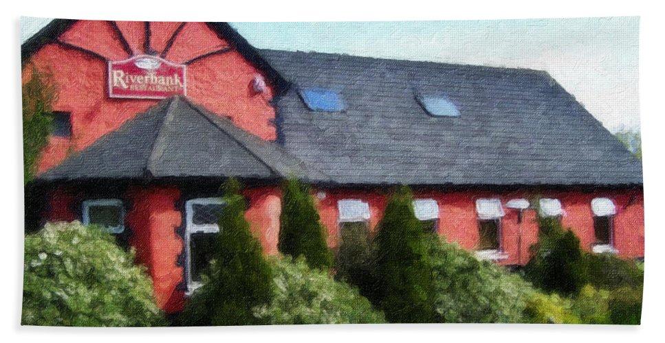 Ireland Bath Sheet featuring the painting Riverbank Restaurant Riverstown Ireland by Teresa Mucha