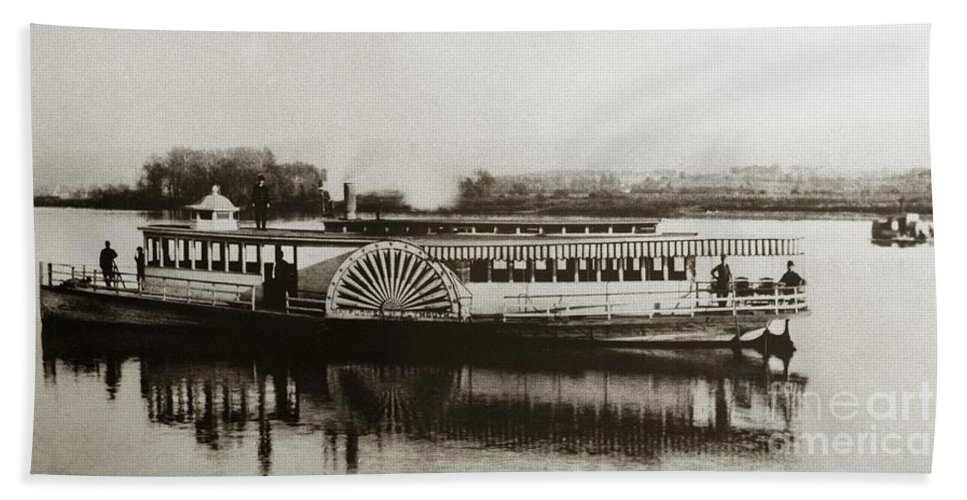 Riverboat Bath Sheet featuring the photograph Riverboat Mayflower Of Plymouth  Susquehanna River Near Wilkes Barre Pennsylvania Late 1800s by Arthur Miller
