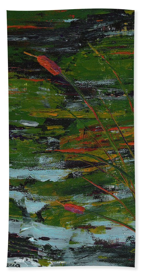 River Hand Towel featuring the painting Rivers Edge by Sole Avaria