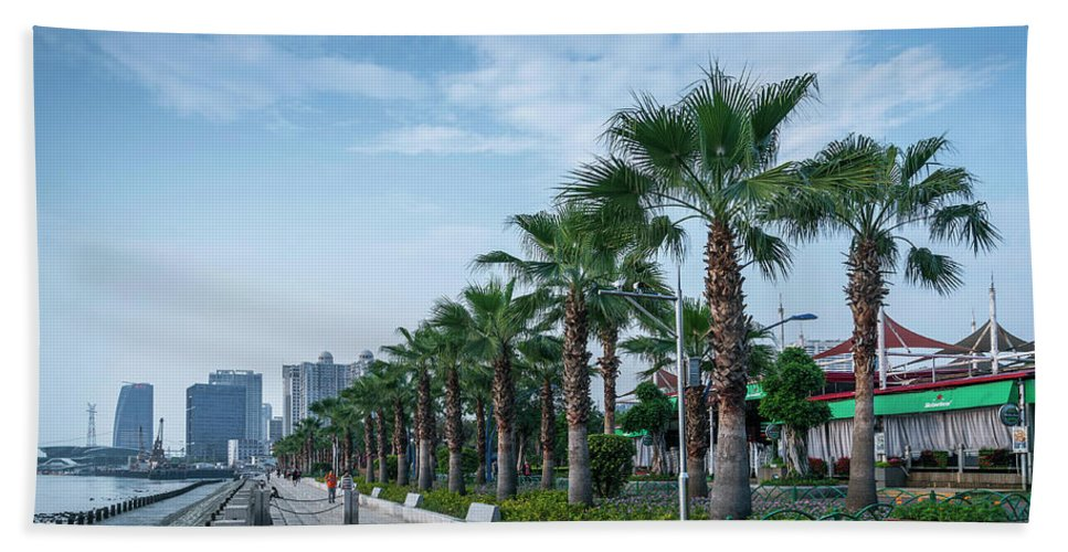 Architecture Hand Towel featuring the photograph Riverside Promenade Park And Skyscrapers In Downtown Xiamen City by Jacek Malipan