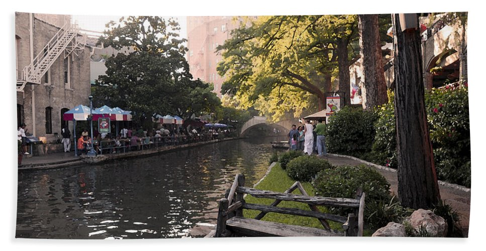 Impressionism Hand Towel featuring the photograph Riverwalk Iv by Steven Sparks