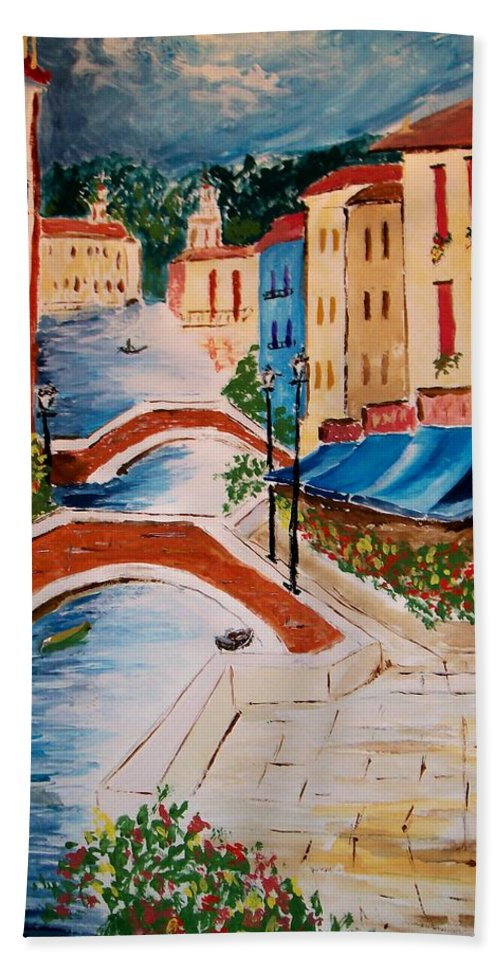 Canal Bath Towel featuring the painting Riverwalk by Leo Gordon