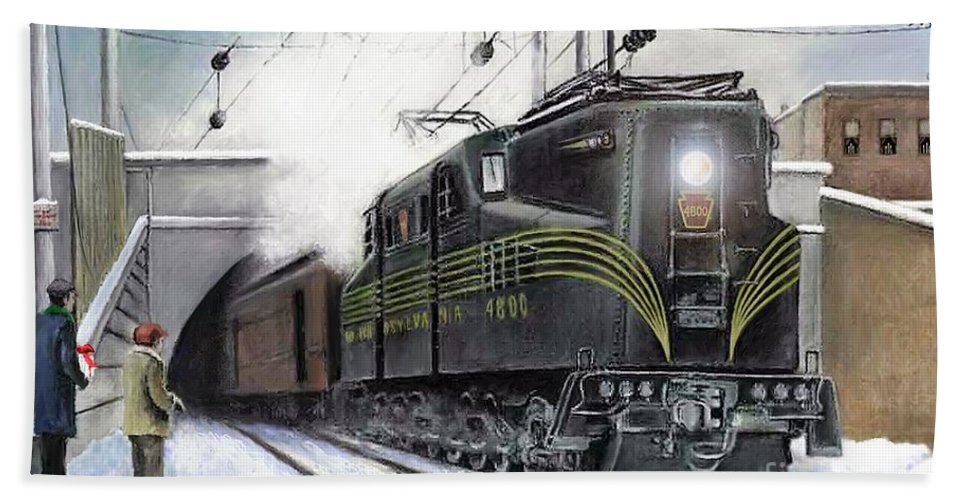 Pennsylvania Railroad Bath Towel featuring the painting Rivets by David Mittner