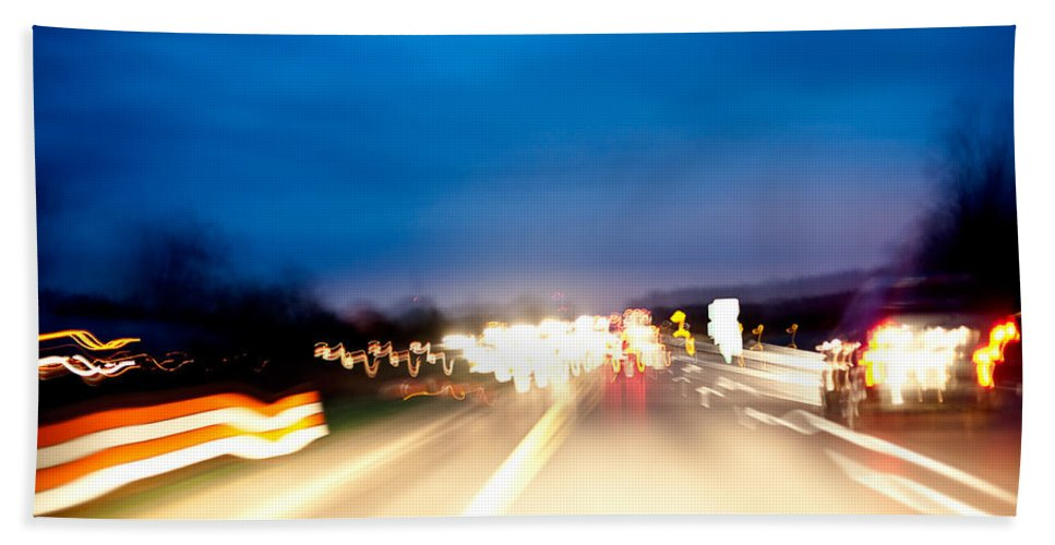 Freeway Bath Sheet featuring the photograph Road At Night 5 by Steven Dunn