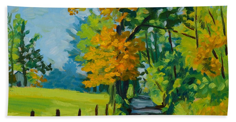 Road Hand Towel featuring the painting Road Through Barrenridge by Eugenie B Fein