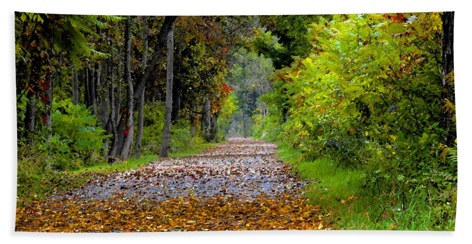 Fall Hand Towel featuring the painting Road To Autumn by David Lee Thompson