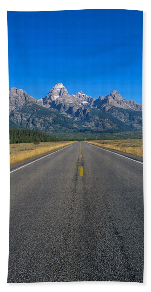 Photography Bath Sheet featuring the photograph Road To Grand Teton National Park by Panoramic Images
