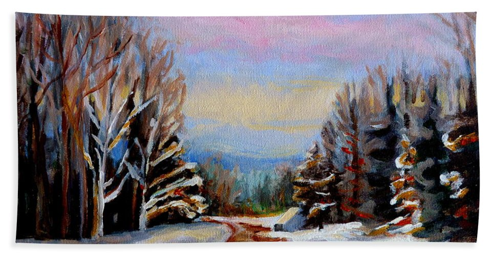 Road To Knowlton Quebec Bath Towel featuring the painting Road To Knowlton Quebec by Carole Spandau