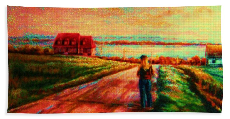 Mystery Road Bath Towel featuring the painting Road To Red Gables by Carole Spandau