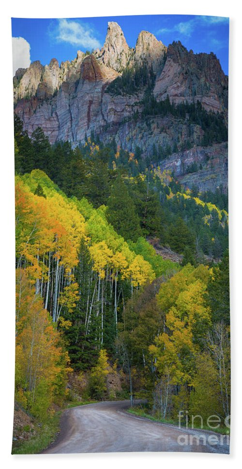 America Bath Towel featuring the photograph Road To Silver Mountain by Inge Johnsson