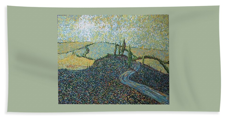 Landscape Bath Towel featuring the painting Road To Tuscany by Stefan Duncan