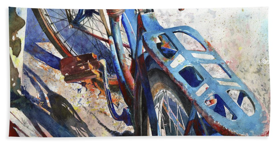 Bicycle Hand Towel featuring the painting Roadmaster by Andrew King