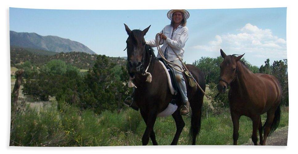 Horses Bath Sheet featuring the photograph Roadside Horses by Anita Burgermeister