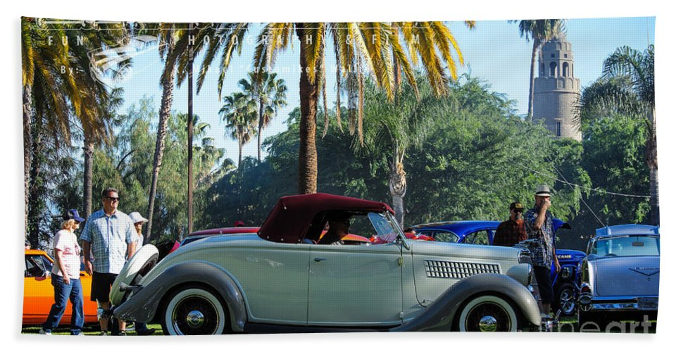 20's Bath Sheet featuring the photograph Roadster At The Castle by Customikes Fun Photography and Film Aka K Mikael Wallin