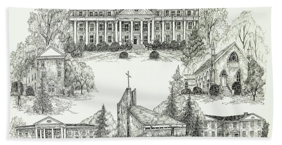 Illustrations Hand Towel featuring the digital art Roanoke College by Jessica Bryant