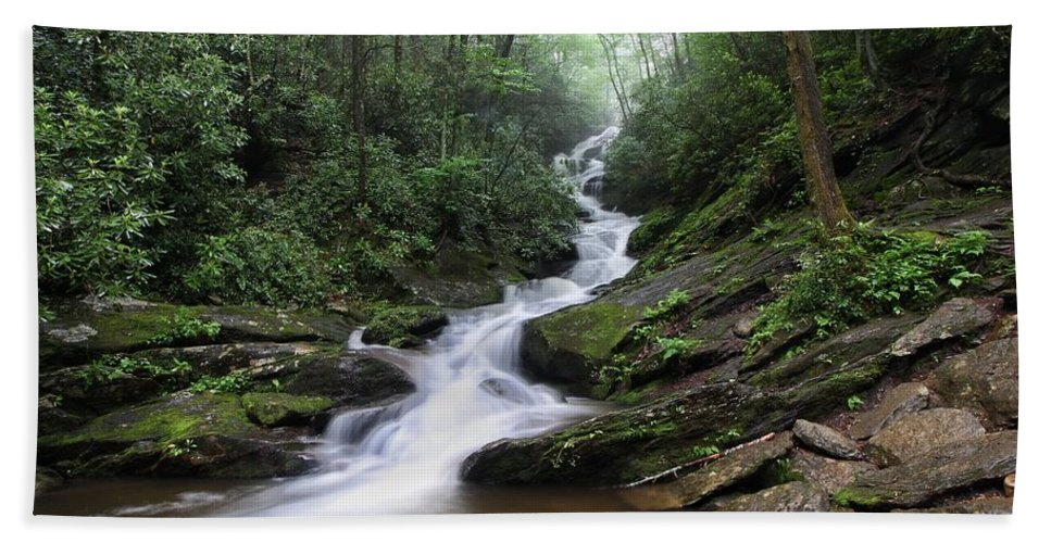 Roaring Fork Falls Hand Towel featuring the photograph Roaring Fork Falls by Chris Berrier