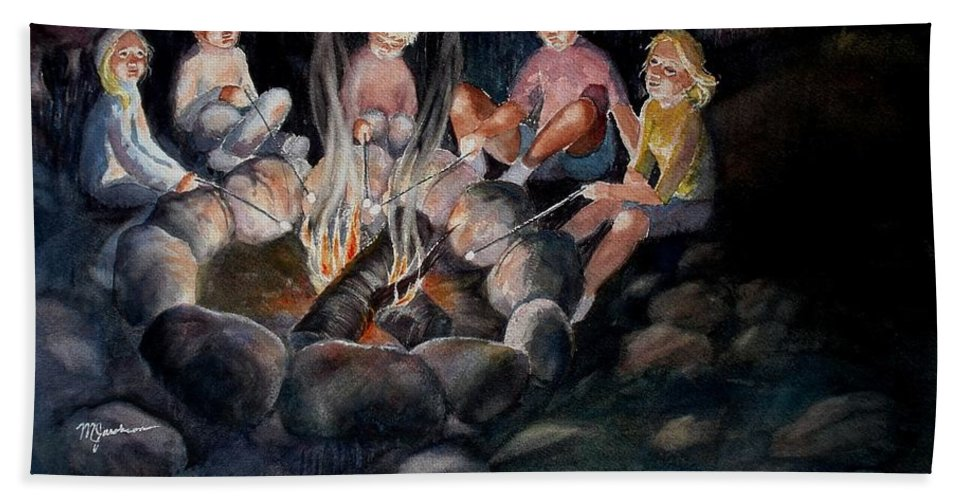 Family Hand Towel featuring the painting Roasting Marshmallows by Marilyn Jacobson
