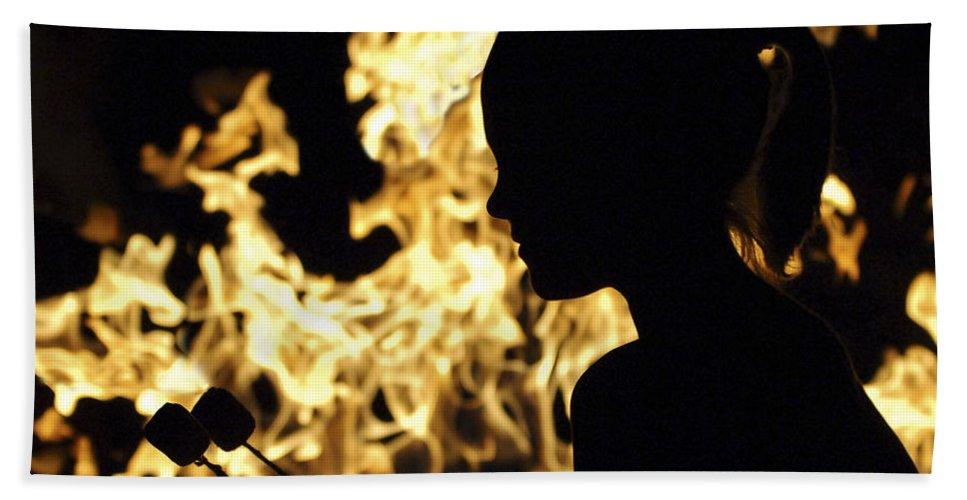 Fire Bath Towel featuring the photograph Roasting Marshmallows Over An Open Fire by Jill Reger